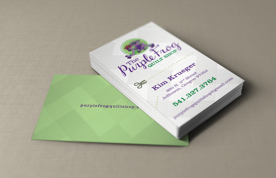 Business cards designpoint inc the purple frog quilt shop reheart Images