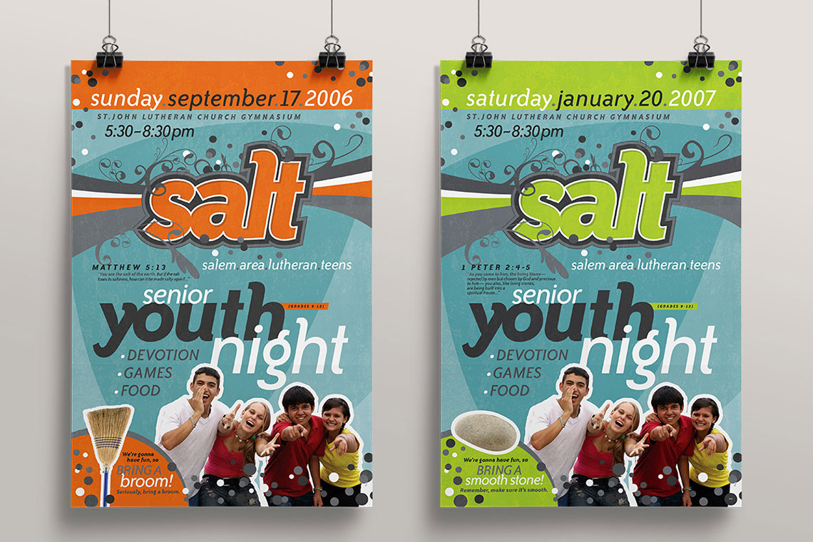 Poster design for youth - Salt Senior Youth Night Posters